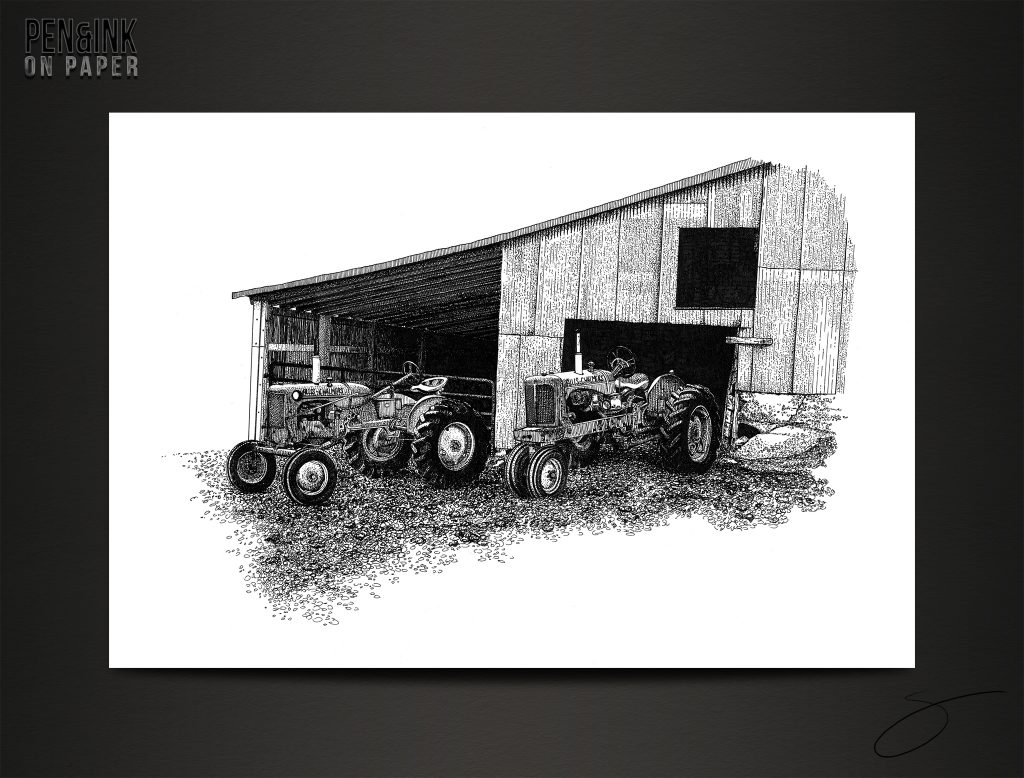 Allis Chalmers Tractors in the morning. Pen&Ink by artist Scott