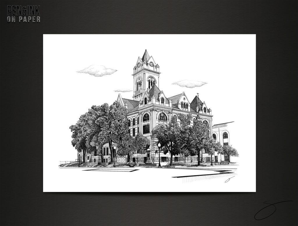 Cole County Courthouse, Jefferson City, Missouri Pen&Ink by artist Scott Loethen