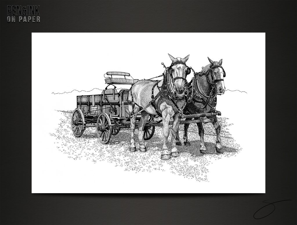 Two Draft Horses pulling a John Deere Wagon. Pen&Ink by artist Scott