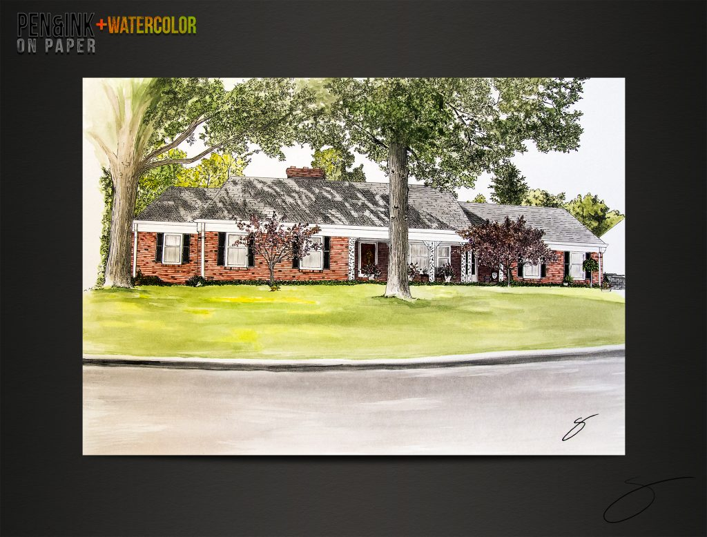 Pen&Ink+Watercolor of a home in Jefferson City by artist Scott Loethen