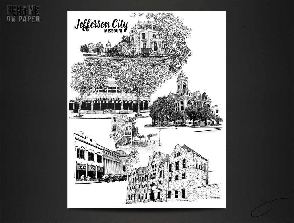 Various Landmarks in Jefferson City, Missouri Pen&Ink by artist Scott Loethen