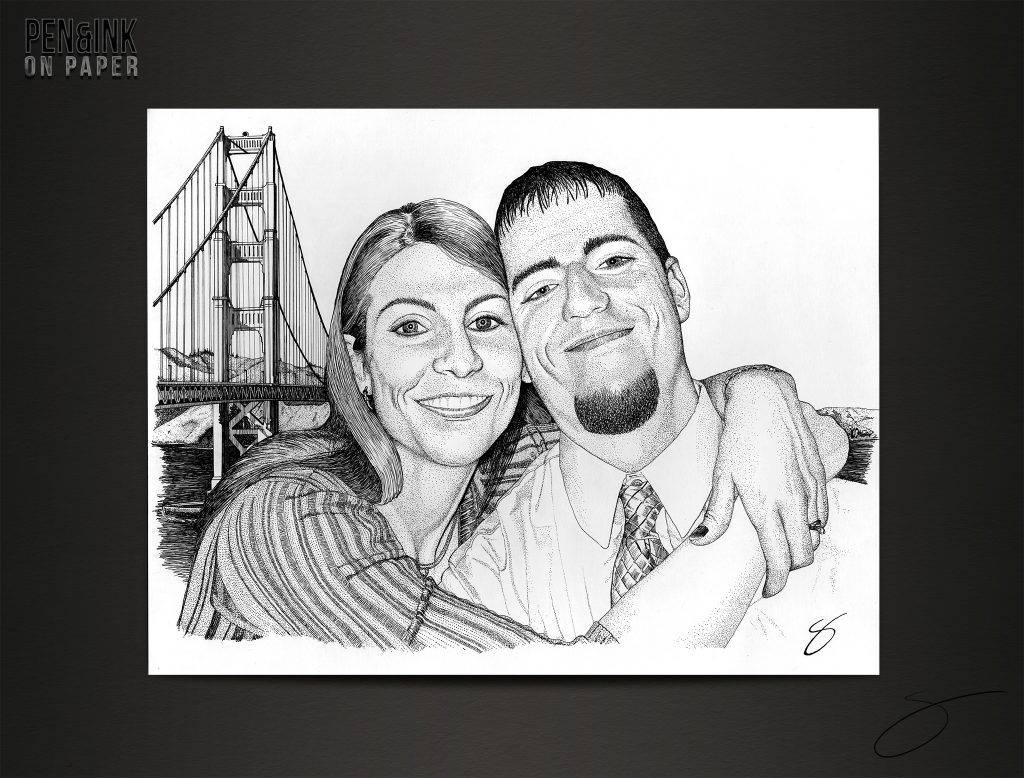 Engaged Couple Pen&Ink by artist Scott