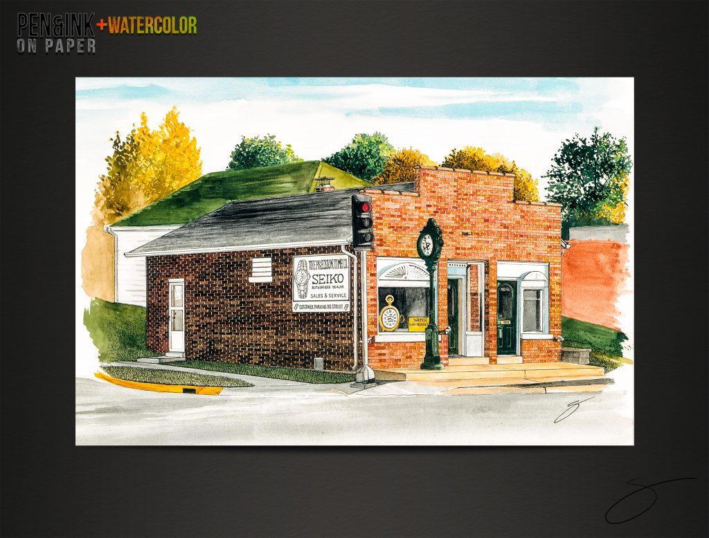 Precision Time Co. Pen&Ink+Watercolor of a business in Jefferson City by artist Scott Loethen