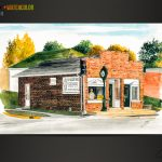 Precision Time Co. Pen&Ink+Watercolor of a business in Jefferson City by artist Scott Loethen